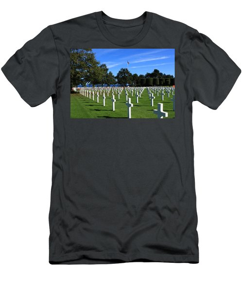 Men's T-Shirt (Athletic Fit) featuring the photograph American Cemetery Normandy by Aidan Moran