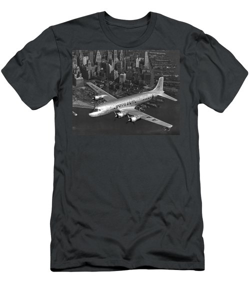 American Dc-6 Flying Over Nyc Men's T-Shirt (Athletic Fit)