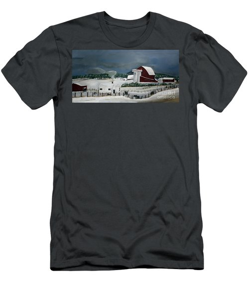 Men's T-Shirt (Slim Fit) featuring the painting Amish Farm - Winter - Michigan by Jan Dappen