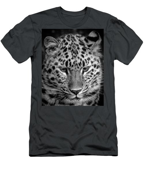 Amur Leopard In Black And White Men's T-Shirt (Athletic Fit)