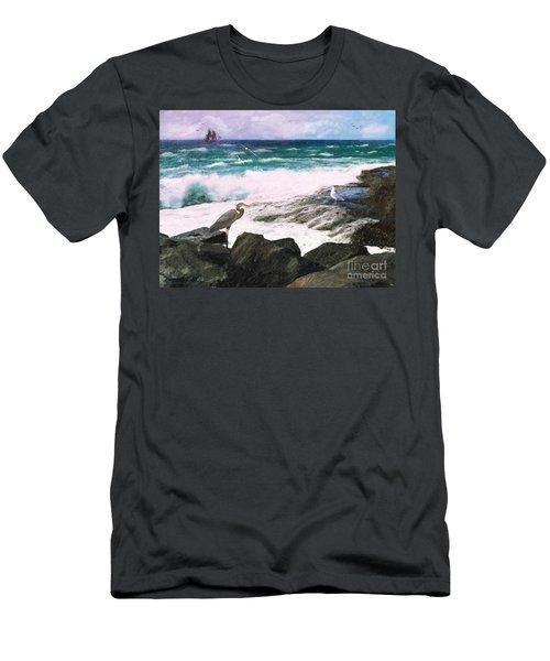 Men's T-Shirt (Slim Fit) featuring the digital art An Egret's View Seascape by Lianne Schneider