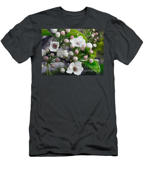 Men's T-Shirt (Slim Fit) featuring the photograph Apple Blossoms In Oil by Nina Silver