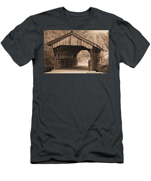 Arabia Mountain Covered Bridge Men's T-Shirt (Slim Fit) by Tara Potts