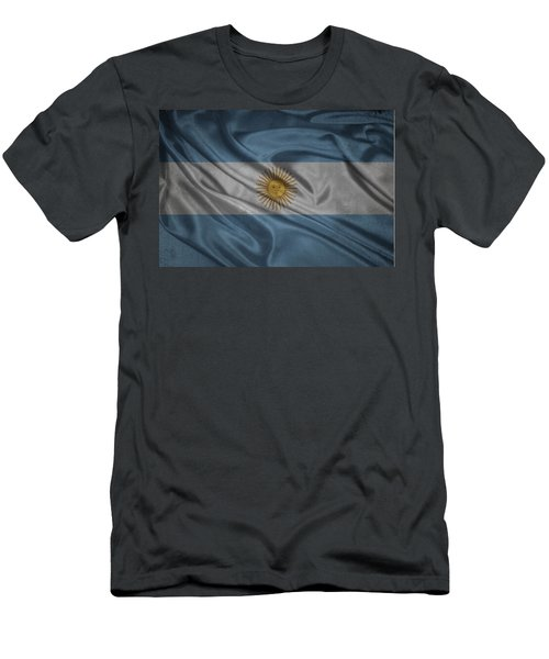 Argentinian Flag Waving On Canvas Men's T-Shirt (Athletic Fit)