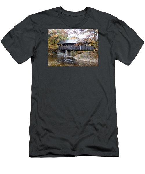 Artist Covered Bridge Men's T-Shirt (Slim Fit) by Catherine Gagne