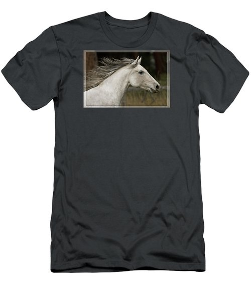 Men's T-Shirt (Slim Fit) featuring the photograph At A Full Gallop D7796 by Wes and Dotty Weber