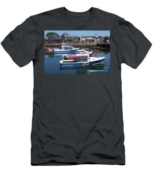 Colorful Boats Men's T-Shirt (Slim Fit) by Eunice Miller