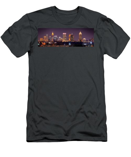 Atlanta Skyline At Night Downtown Midtown Color Panorama Men's T-Shirt (Athletic Fit)