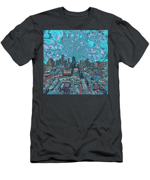 Austin Texas Vintage Panorama 4 Men's T-Shirt (Slim Fit) by Bekim Art
