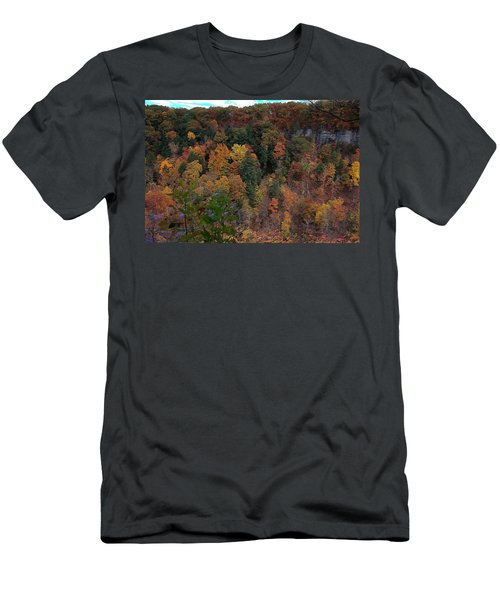 Men's T-Shirt (Slim Fit) featuring the photograph Autumn Colors In Taughannock State Park Ithaca New York by Paul Ge