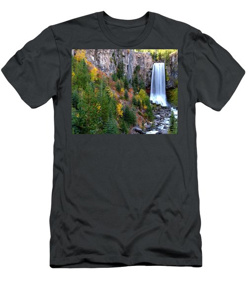 Men's T-Shirt (Slim Fit) featuring the photograph Autumn Colors Surround Tumalo Falls by Kevin Desrosiers