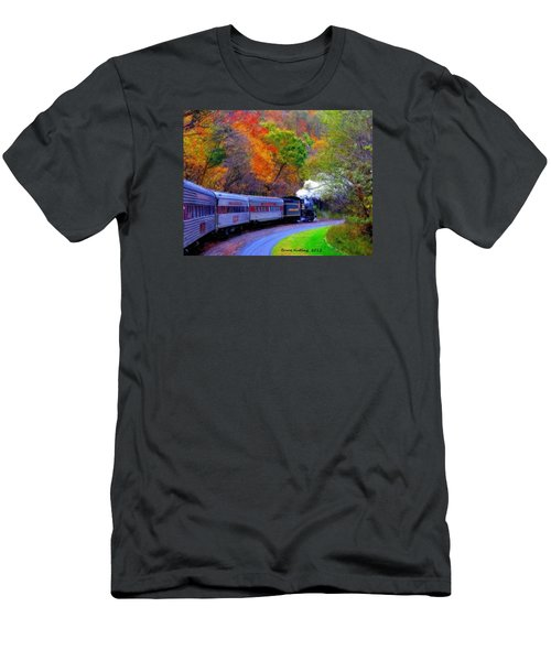 Men's T-Shirt (Slim Fit) featuring the painting Autumn Train by Bruce Nutting