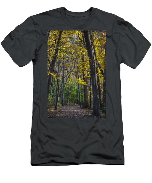 Men's T-Shirt (Athletic Fit) featuring the photograph Autumn Trees Alley by Sebastian Musial