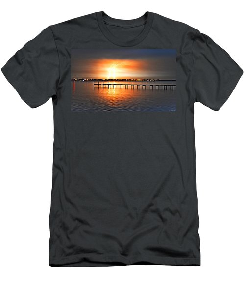 Awesome Lightning Electrical Storm On Sound Men's T-Shirt (Slim Fit) by Jeff at JSJ Photography