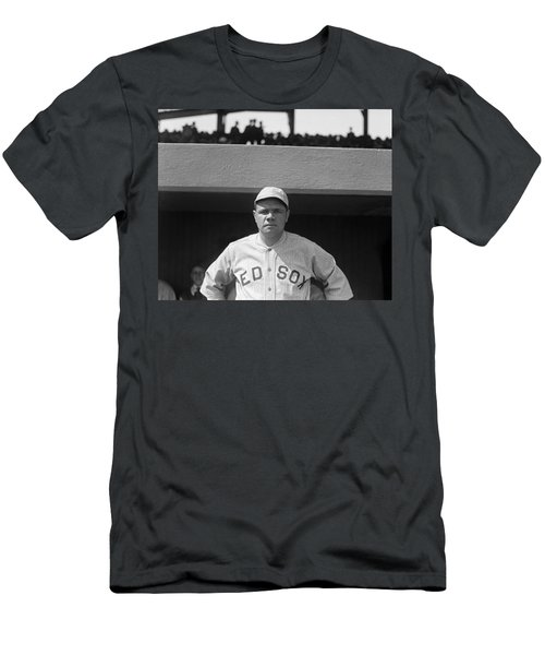Babe Ruth In Red Sox Uniform Men's T-Shirt (Slim Fit) by Underwood Archives