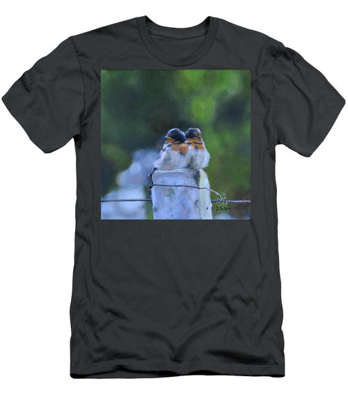 Baby Swallows On Post Men's T-Shirt (Athletic Fit)