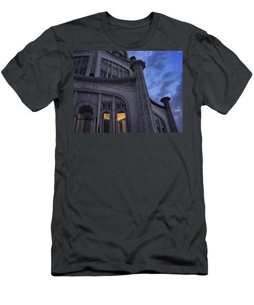 Men's T-Shirt (Slim Fit) featuring the photograph Bahai Temple Detail At Dusk by John Hansen