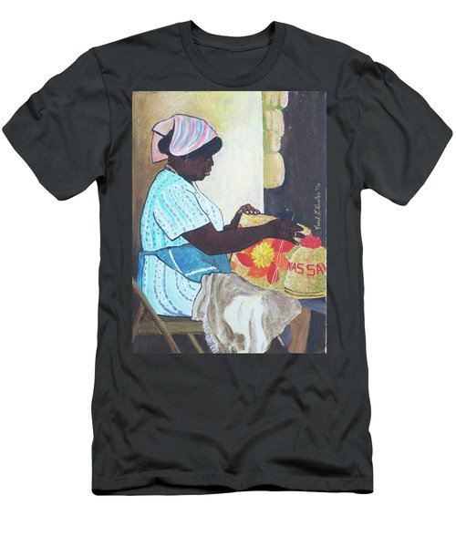 Bahamian Woman Weaving Men's T-Shirt (Slim Fit) by Frank Hunter