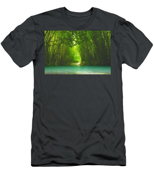 bamboo path to  Blue Lagoon  Men's T-Shirt (Athletic Fit)