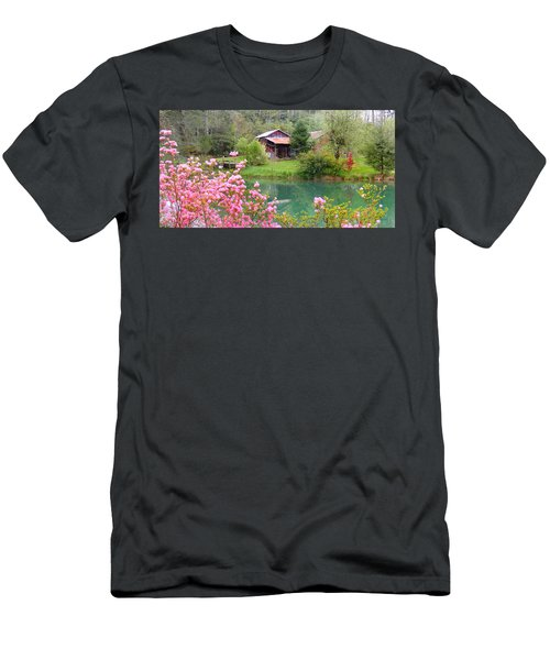 Barn And Flowers Near Pond Men's T-Shirt (Athletic Fit)