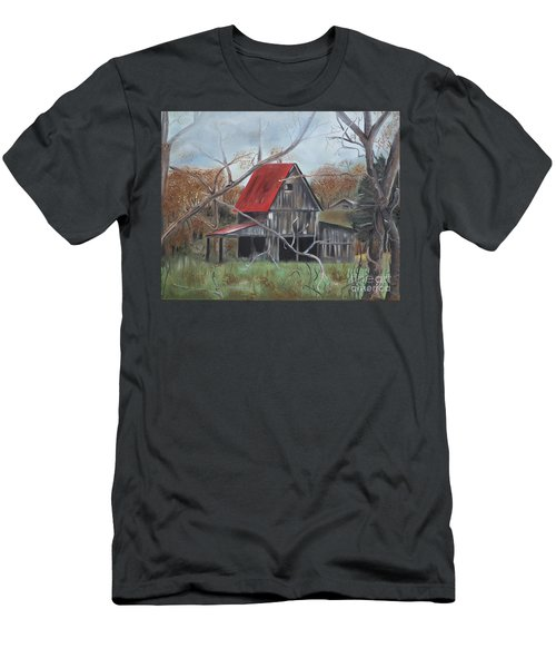 Men's T-Shirt (Slim Fit) featuring the painting Barn - Red Roof - Autumn by Jan Dappen