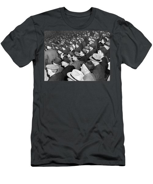 Baseball Fans At Yankee Stadium For The Third Game Of The World Men's T-Shirt (Slim Fit) by Underwood Archives