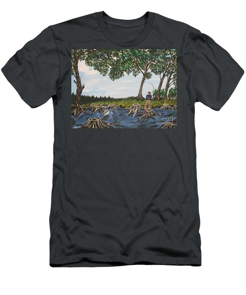 Bass Fishing In The Stumps Men's T-Shirt (Athletic Fit)