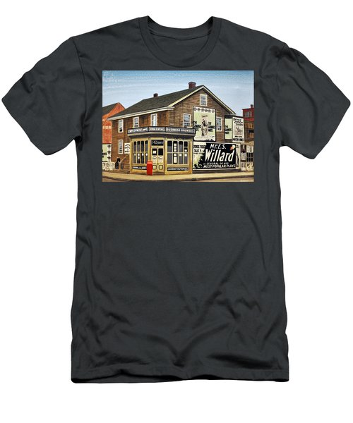 Men's T-Shirt (Slim Fit) featuring the painting Bay And Adelaide Streets 1910 by Kenneth M  Kirsch