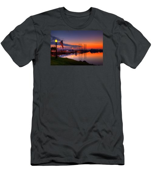 Bayfield Wisconsin Fire In The Sky Over The Harbor Men's T-Shirt (Athletic Fit)
