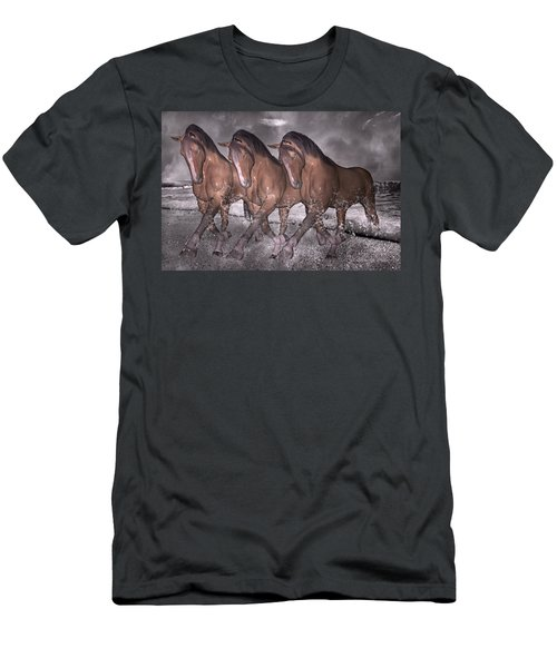 Beach Horse Trio Night March Men's T-Shirt (Athletic Fit)