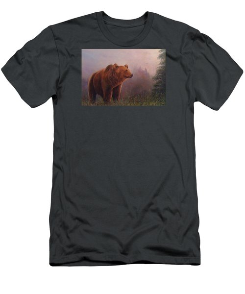 Men's T-Shirt (Slim Fit) featuring the painting Bear In The Mist by Donna Tucker