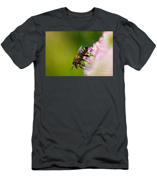 Men's T-Shirt (Athletic Fit) featuring the photograph Bee Sitting On A Flower by John Wadleigh
