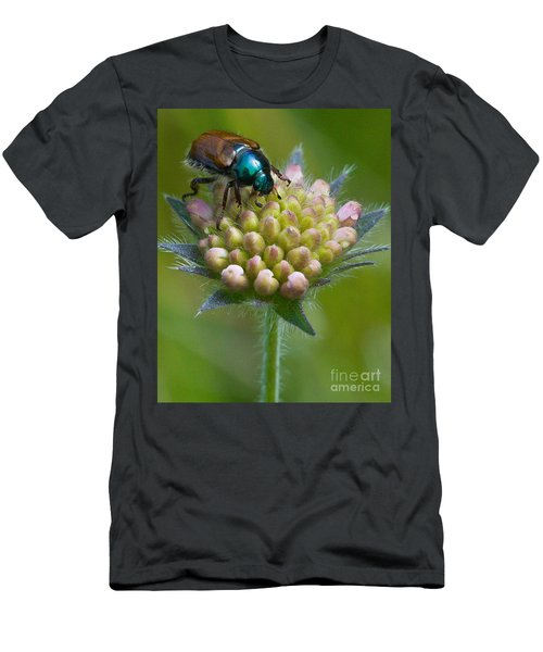 Men's T-Shirt (Athletic Fit) featuring the photograph Beetle Sitting On Flower by John Wadleigh