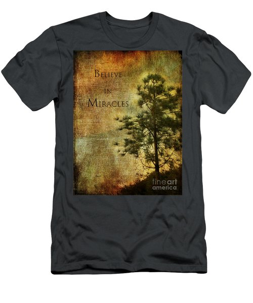 Believe In Miracles - With Text Men's T-Shirt (Athletic Fit)