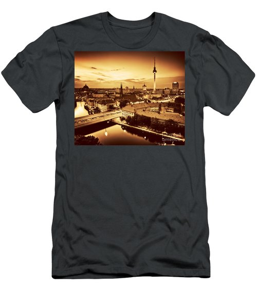 Berlin Germany Major Landmarks At Sunset In Gold Tone Men's T-Shirt (Athletic Fit)