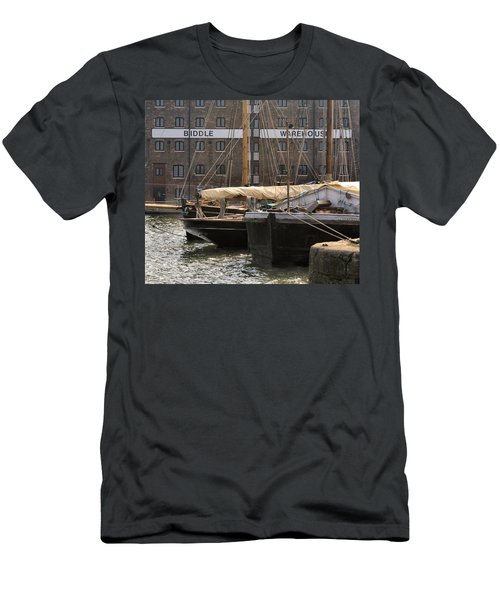 Men's T-Shirt (Slim Fit) featuring the digital art Biddle Warehouse by Ron Harpham