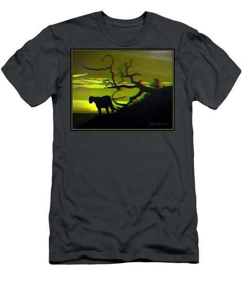 Big Cat Silhouette -  Use Red-cyan 3d Glasses Men's T-Shirt (Athletic Fit)