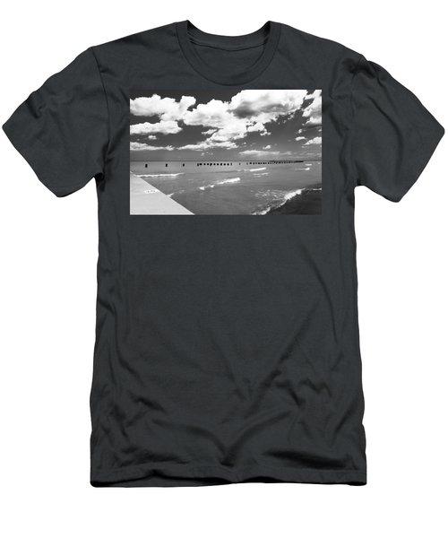 Big Lake Clouds Black White Men's T-Shirt (Athletic Fit)