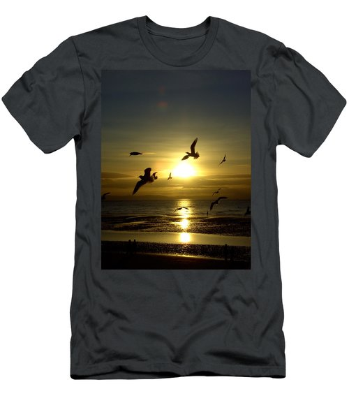 Birds Gathering At Sunset Men's T-Shirt (Athletic Fit)