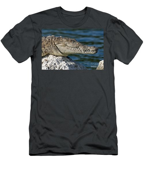 Men's T-Shirt (Slim Fit) featuring the photograph Biscayne National Park Florida American Crocodile by Paul Fearn