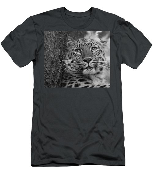 Black And White Amur Leopard Men's T-Shirt (Athletic Fit)