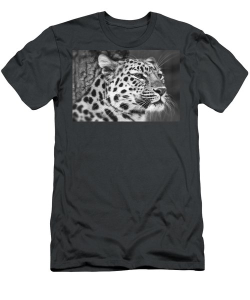 Black And White - Amur Leopard Portrait Men's T-Shirt (Athletic Fit)