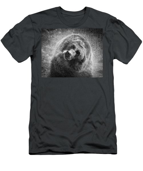 Black And White Grizzly Men's T-Shirt (Slim Fit) by Steve McKinzie