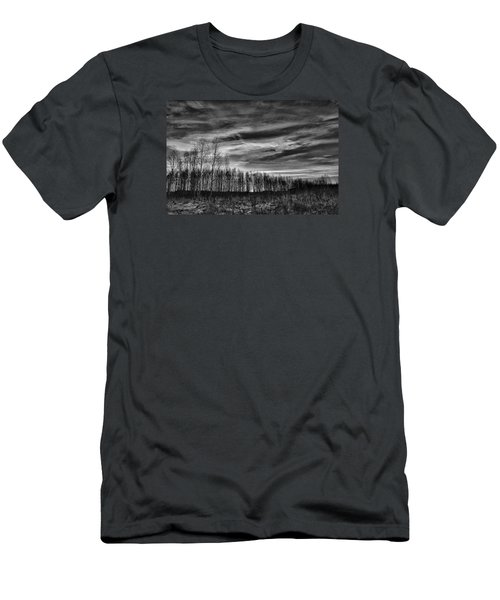 Black And White Grongarn Sky December 16 2014 Colouring The Clouds  Men's T-Shirt (Slim Fit) by Leif Sohlman
