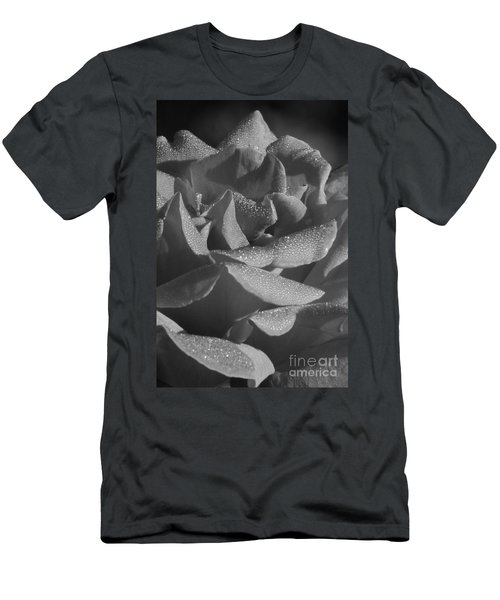 Black And White Morning Rose Men's T-Shirt (Athletic Fit)