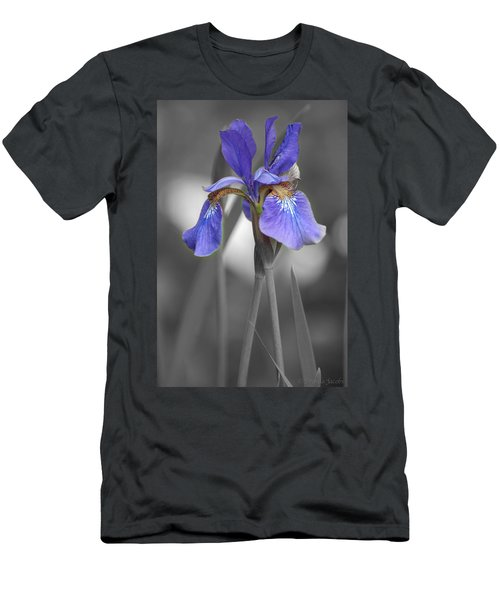 Black And White Purple Iris Men's T-Shirt (Athletic Fit)