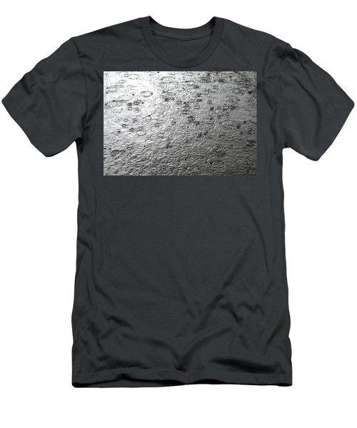 Black And White Rain Men's T-Shirt (Athletic Fit)