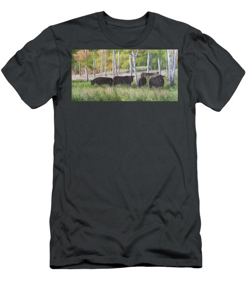 Men's T-Shirt (Athletic Fit) featuring the painting Black Angus Grazing by Tammy Taylor