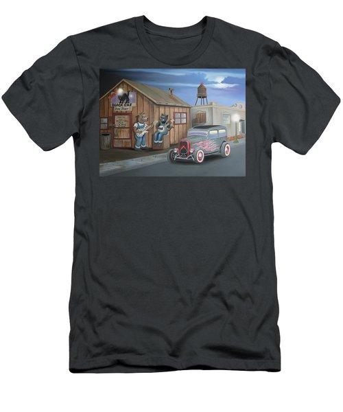 Black Cat Juke Joint Men's T-Shirt (Slim Fit) by Stuart Swartz