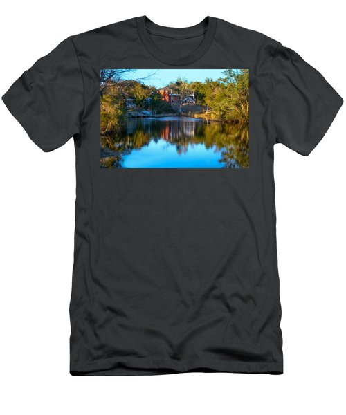 Black Water River In Blue Men's T-Shirt (Athletic Fit)